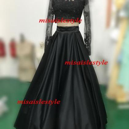 Long Sleeves Black Lace Prom Dress,..