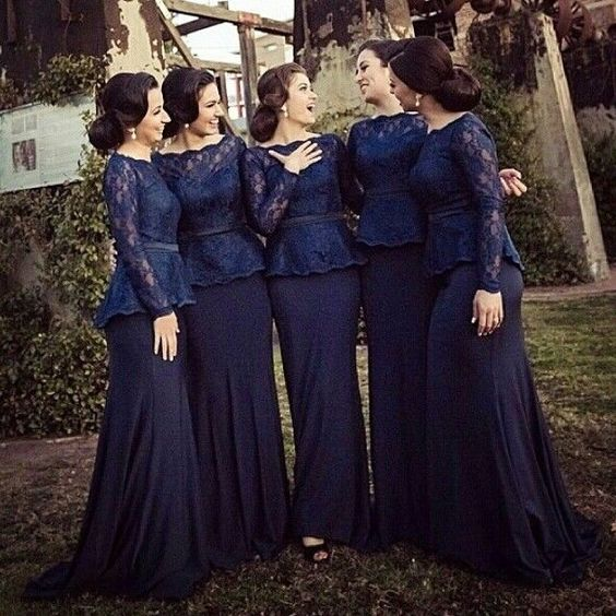 5884def030b09 Mermaid Bridesmaid Dress,Long Sleeves Lace Bridesmaid Gown,Dark Navy Lace  Wedding Guest Dress