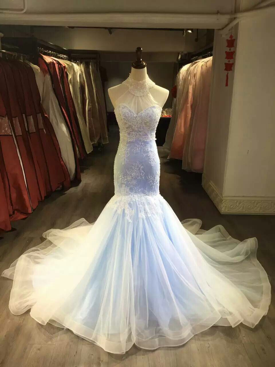 Mermaid Lace Wedding Dress Colorful Bridal Dress Halter Neckline Mermaid Light Blue Wedding Gown