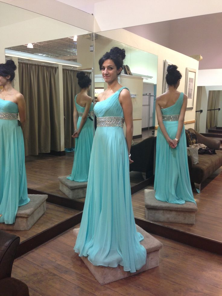 Floor Length One Shoulder Blue Prom Dresschiffon Occasion Dress On
