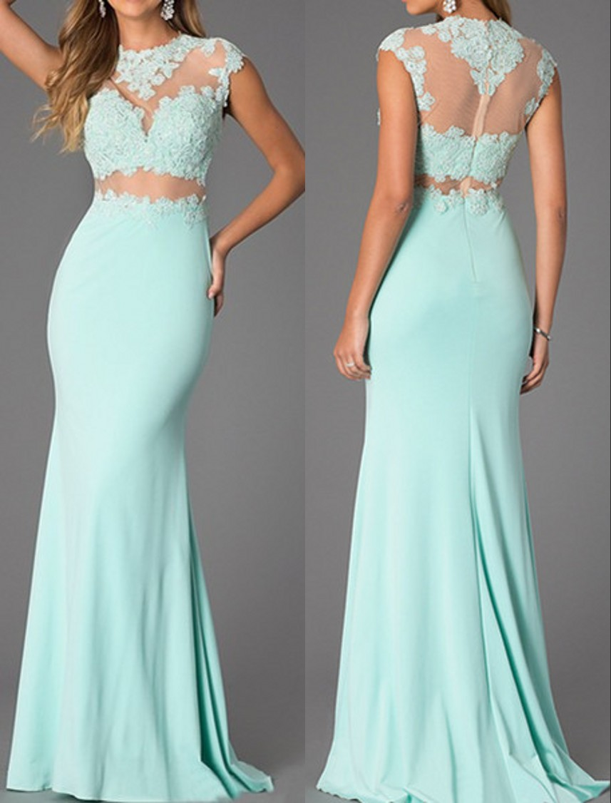 Mermaid Mint Green Lace Prom Dresses,Sexy Illusion Lace Evening ...