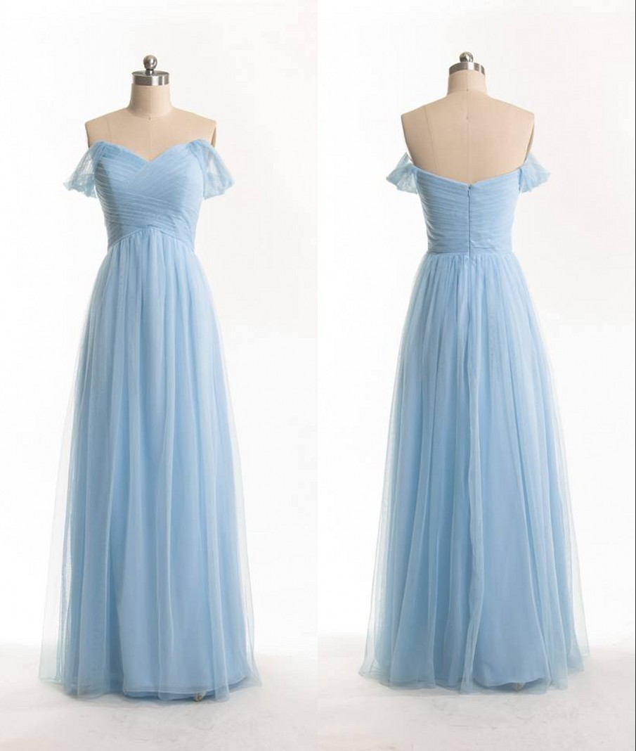 Free Shipping Off Shoulder Sleeves Sky Blue Bridesmaid Dress,Sexy ...