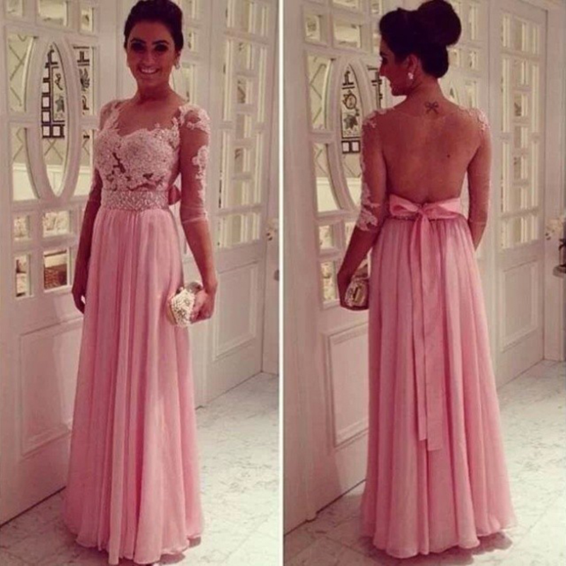 Long Sleeves Sexy Open Back Prom Dress,Pink Lace Prom Gown,Backless ...