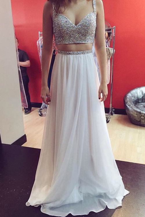 Two Pieces Prom Dress,Sexy Beaded Prom Gown,White Prom Dress,White Party Dress,Long Two Piece White Graduation Dress