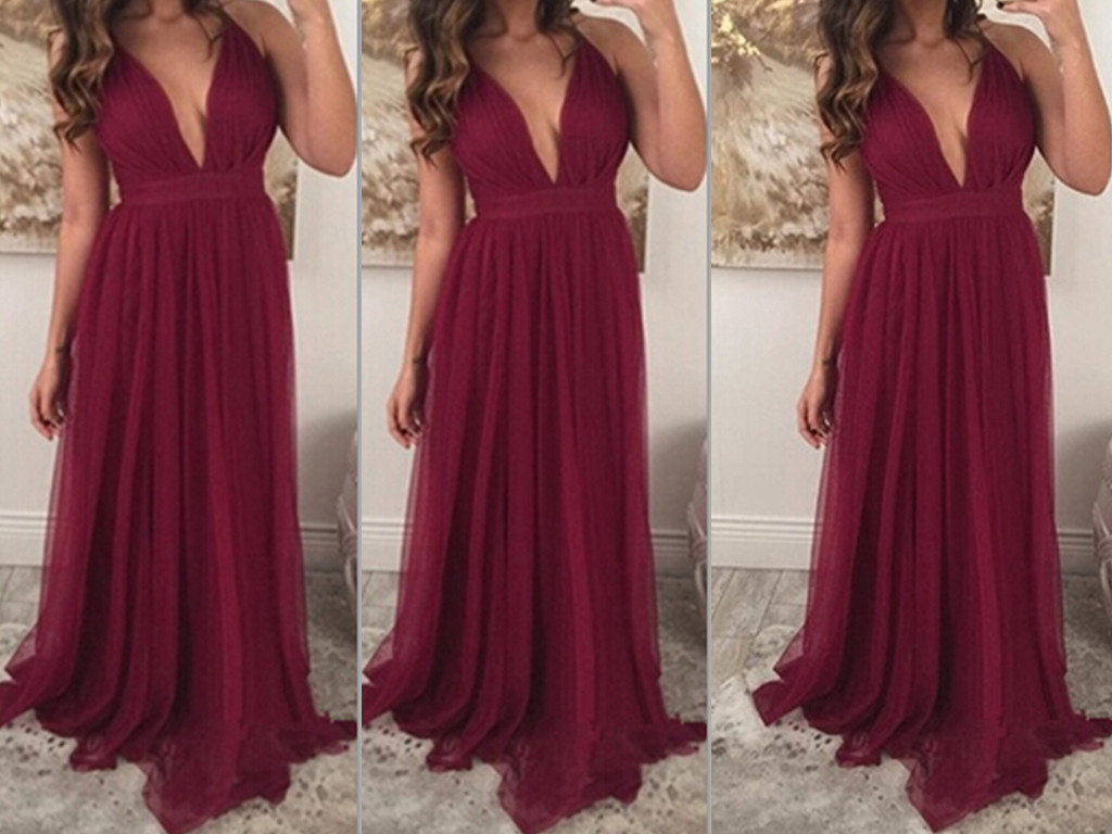 Long sexy prom dress with deep v neckline