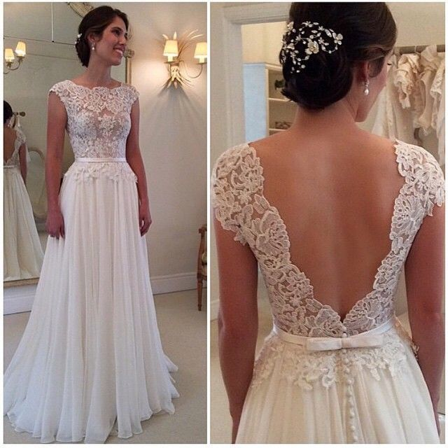 30cfa77712e Cap Sleeves Lace Wedding Dress