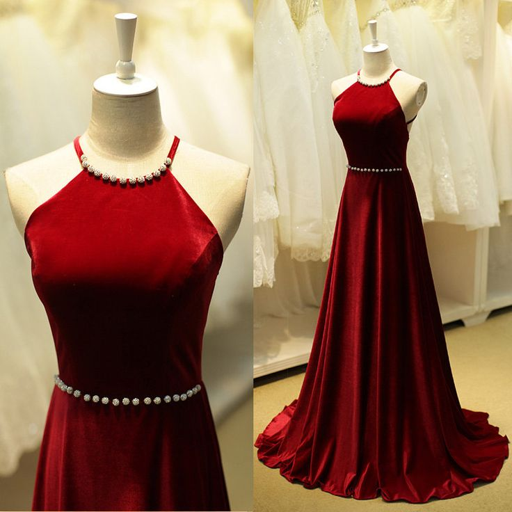 30f2c7a5c8 Custom Made Red Backless Floor Length Prom Dress with Crystal Beading