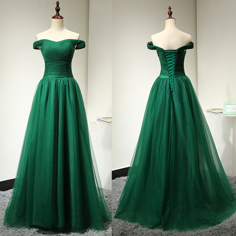 419690efbe4a Off Shoulder Sleeves Green Prom Dress