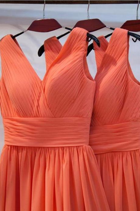 Discount V-neckline Bridesmaid Dress,Orange Bridesmaid Gown,Cheap Party Dress