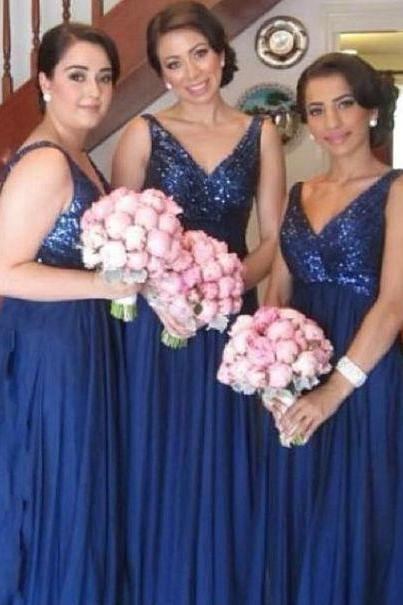 Navy Blue Sequins Bridesmaid Dress,A line V-neckline Sequins Party Dress
