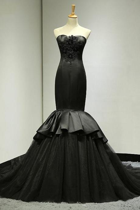 Mermaid Black Wedding Dress,Trumpet Black Evening Dress