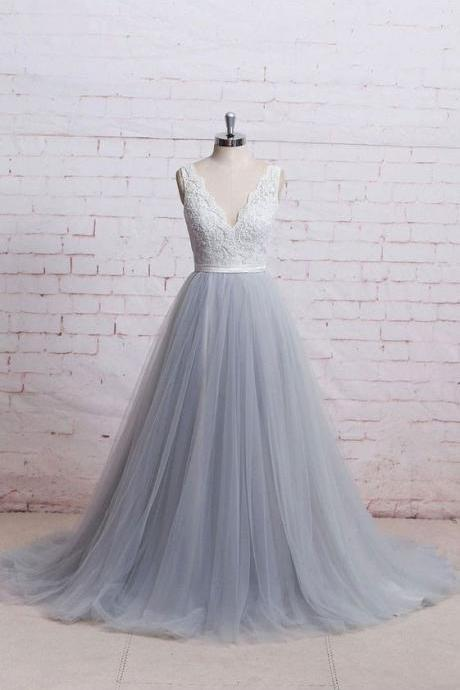Silver Tulle Wedding Dress,Colorful Wedding Gown,Custom Lace Wedding Dresses