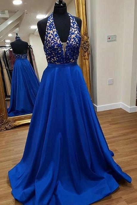 Royal Blue Prom Dress,A line Halter Neckline Open Back Evening Dress,Royal blue Lace Party Dress