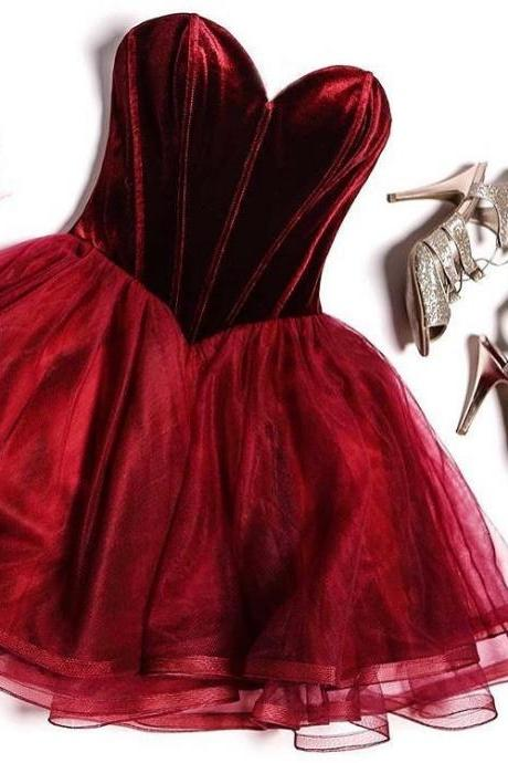 Burgundy Homecoming Dress,Sweetheart Short Party Dress,Sexy Mini Burgundy Prom Dress