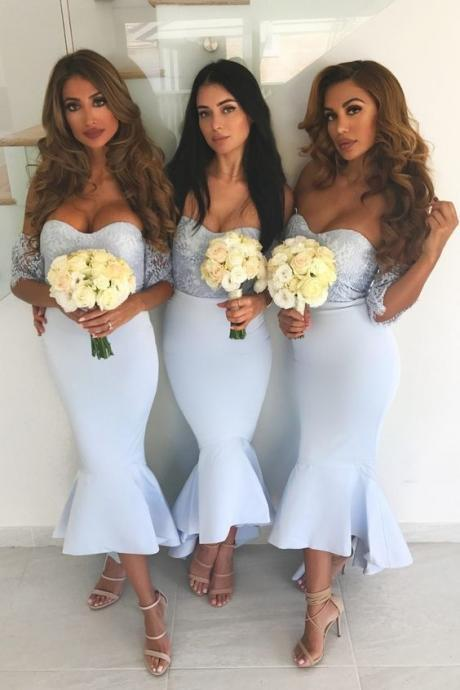 Light Sky Blue Off-The-Shoulder Lace Mermaid Bridesmaid Dress, Party Dress with Peplum Hem