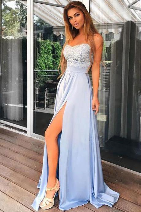 Spaghetti Straps Ice Blue Prom Dress,Sexy Slit Party Dress