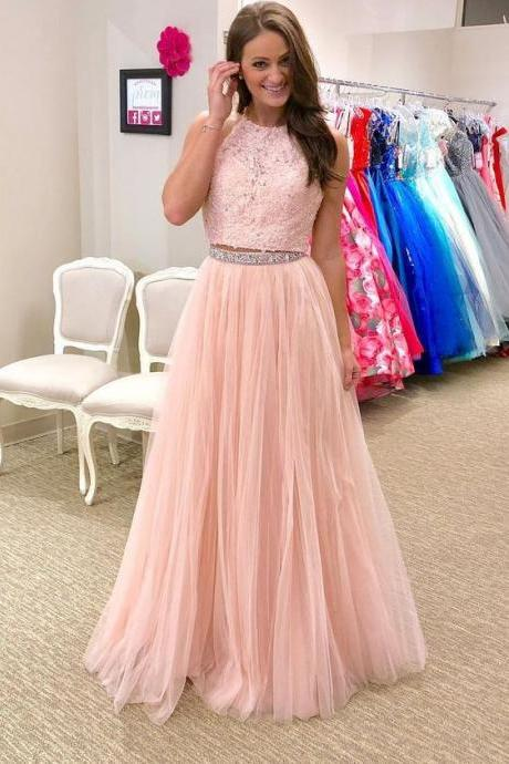 A line Two Piece Blush Pink Prom Dress