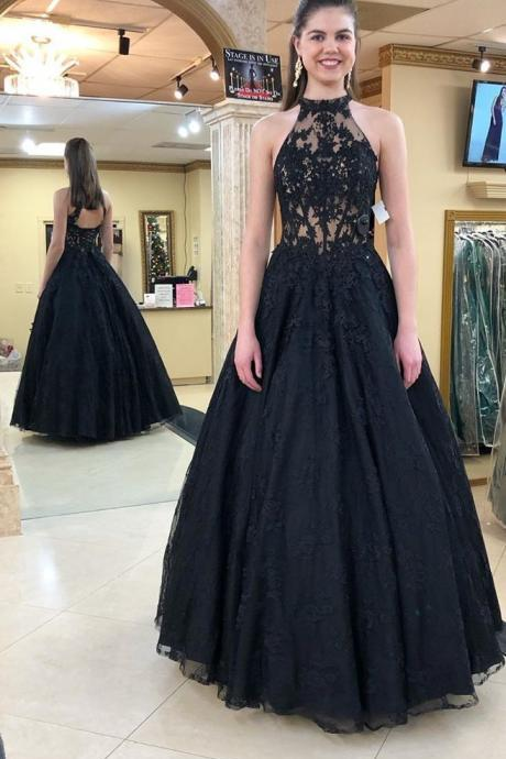 Halter Neckline Party Dress,Black Prom Gown,Ball Gown Prom Dress