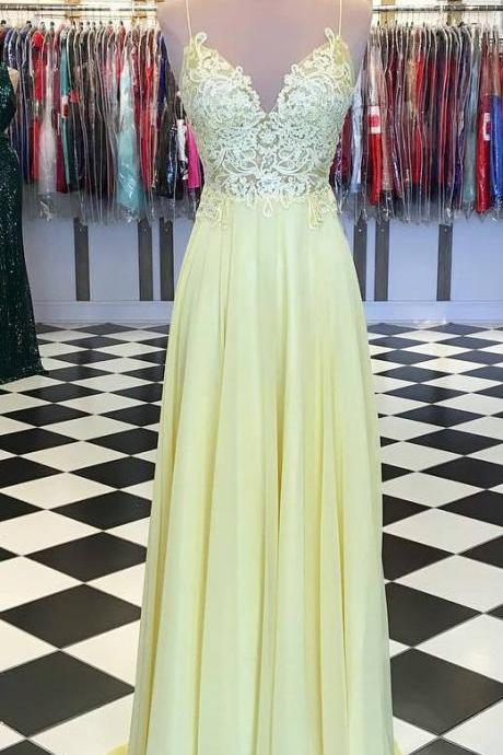 Fashion Yellow Prom Dress,Spaghetti Straps Long Prom Gown