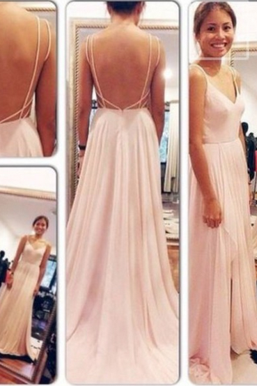Open Back Party Dresses,Straps Blush Pink Prom Dress,Sexy Open Back Prom Gown