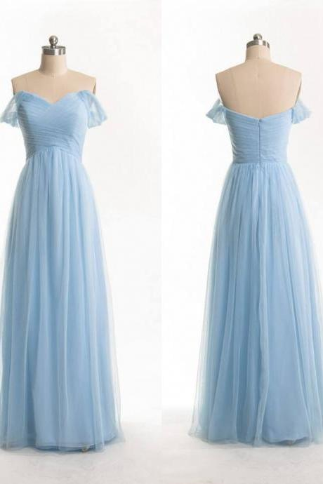 Free Shipping Off Shoulder Sleeves Sky Blue Bridesmaid Dress,Sexy Prom Dress,Long Off Shoulder Blue Evening Party Dress