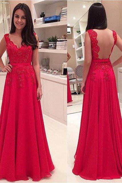 Free Shipping Open Back Red Lace Prom Dress, V-neck Graduation Dress,Sexy Backless Evening Dress,Sexy Open Back Prom Dress,Red Lace Bridesmaid Dress