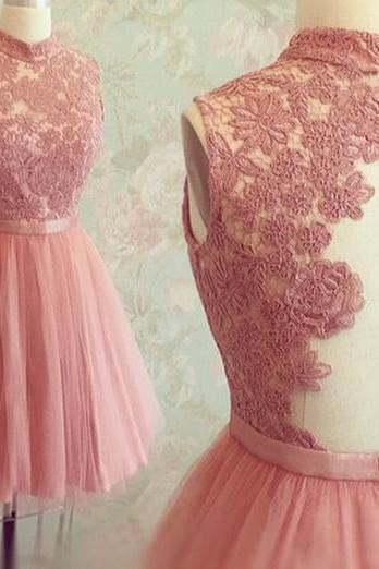 Halter Neckline Lace and Tulle Homecoming Dress,Blush Pink Lace Prom Dress,Short Blush Pink Bridesmaid Dresses,blush pink homecoming dress