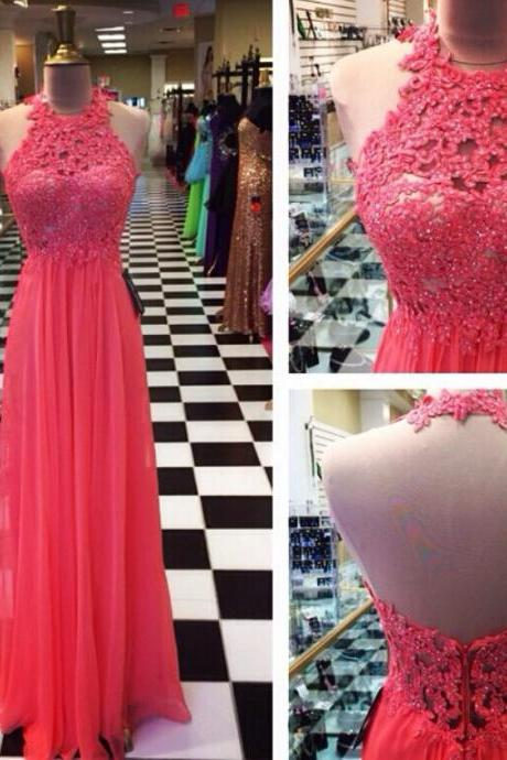 Fashion Sexy Open Back Prom Dress,Halter Neckline Lace Graduation Dress,Sexy Backless Formal Evening Party Dress