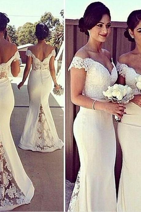 Free Shipping Off Shoulder Mermaid Lace Bridesmaid Dress,Lace Mermaid Prom Dress,Mermaid Off Shoulder Graduation Dress