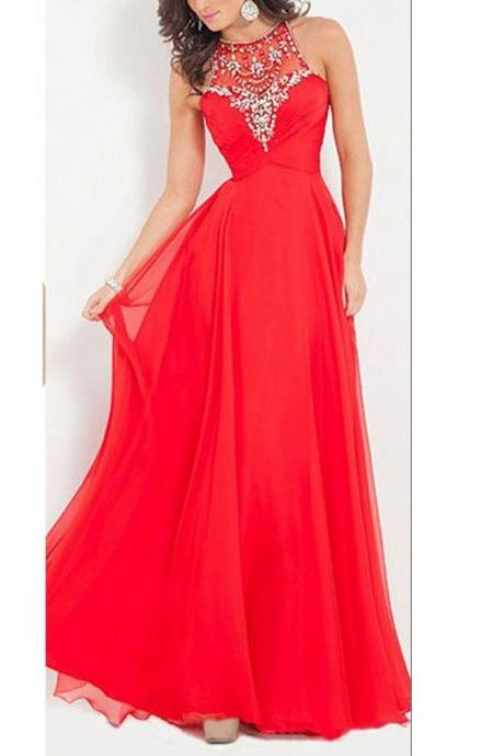 Handmade Beaded Red Prom Dress,Fashion Red Graduation Dress,Formal A-line Red Chiffon Party Dress