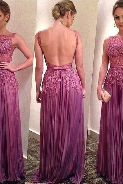 Sexy Lace Prom Dress,Formal Chiffon Evening Party Dress,Open Back Lace Graduation Dress,Backless Lace Prom Dresses