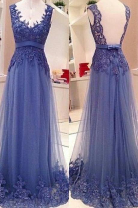 Open Back Lace Prom Dress,Backless Graduation Dress,Blue Lace Formal Party Dress,Sexy Backless Prom Gowns