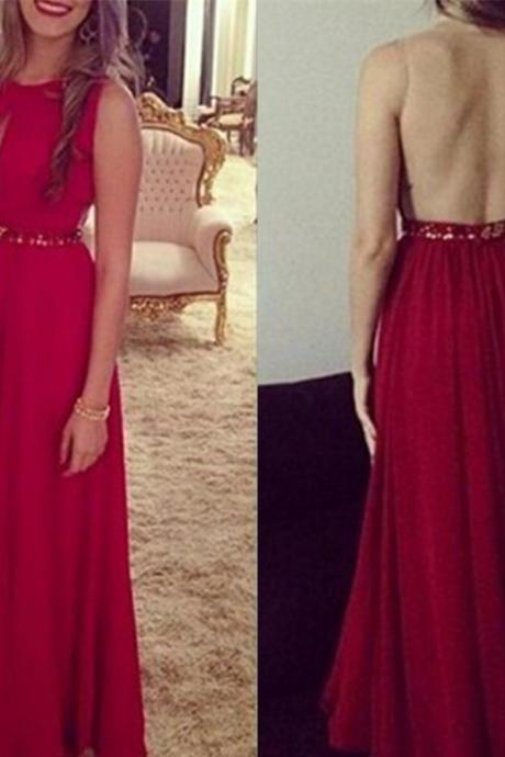 Sexy Open Back Prom Dress,Red Chiffon Graduation Dress,Sexy Red Evening Dress,Sexy Open Back Red Party Dress