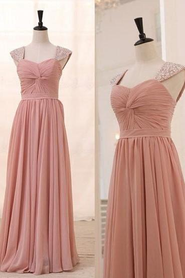 Beaded Cap Sleeves Prom Dress,Blush Pink Bridesmaid Dress,Chiffon Cap Sleeves Graduation Dress,Cap Sleeves Blush Evening Party Dress