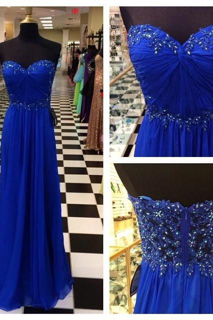 Empire Royal Blue Prom Dress,Sweetheart Blue Prom Gown,Strapless Royal Blue Graduation Dress,Royal Blue Evening Party Dress