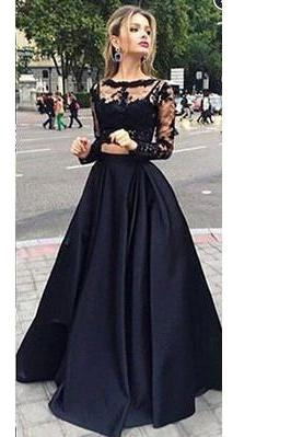 Long Sleeves Black Lace Prom Dress,Black Two Piece Prom Gown,Long Sleeves Two Piece Party Dress,Two Piece Black Lace Graduation Dress