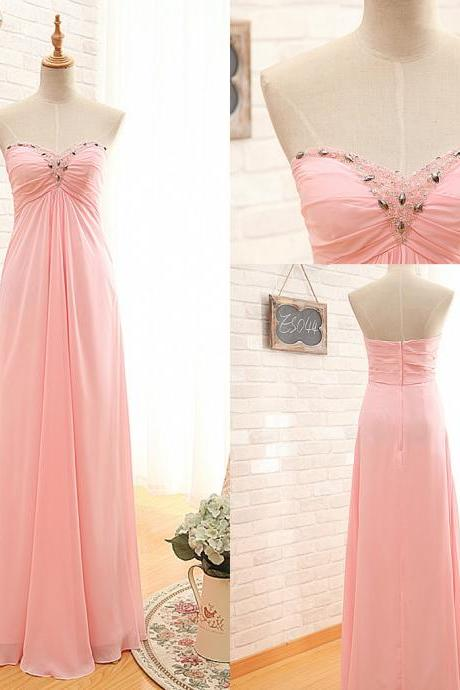 Ready to Ship Pink Prom Dress,Strapless Prom Gown,Sweetheart Pink Graduation Dress,Chiffon Party Dress