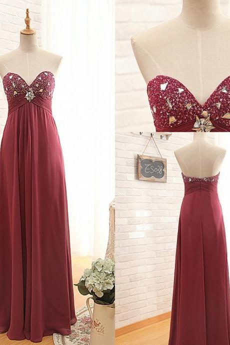 Burgundy Long Chiffon A-Line Prom Dress Featuring Beaded Embellished Ruched Sweetheart Bodice