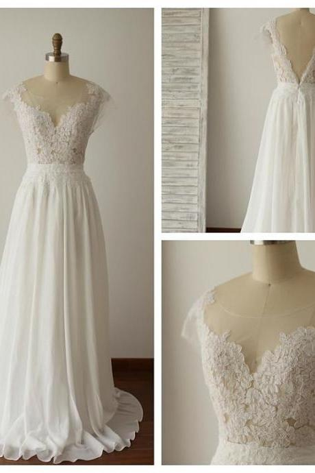 V-back Illusion Lace Wedding Dress,Discount Chiffon Summer Wedding Dress,Lace Bridal Dress