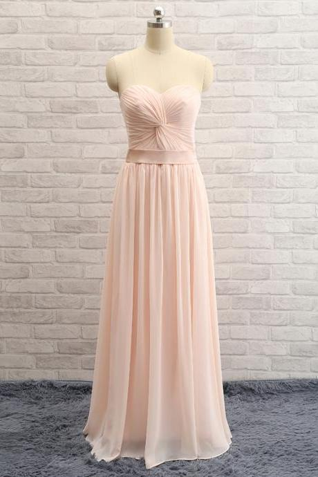 Simple Sweetheart Blush Pink Bridesmaid Dress,Strapless Prom Dress,A-line Occasion Dress,Discount Blush Graduation Dress