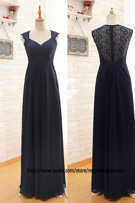 Elegant Full Length Navy Blue Lace Bridesmaid Dresses,Navy Blue Prom Dresses