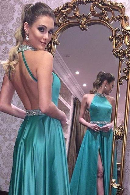 Low Back Prom Dresses,Green Graduation Dresses,Sexy Party Dresses,Sexy Open Back Green Evening Dress