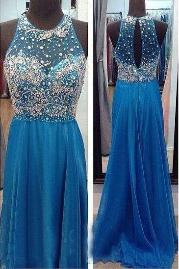Handmade Beaded Prom Dress,Blue Graduation Dresses,See Through Party Dresses,Open Back Formal Dress,Blue Evening Dresses