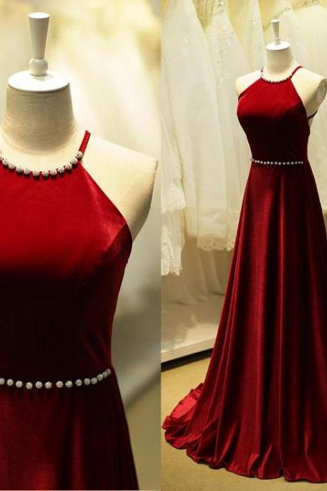 Custom Made Red Backless Floor Length Prom Dress with Crystal Beading