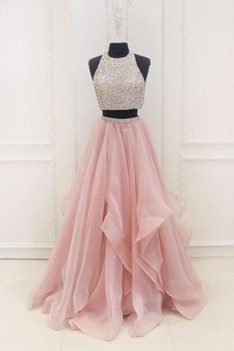 Blush Pink Two Piece Beaded Prom Dress, Bridesmaid Dress with Cascading Skirt Detailing