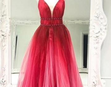 Red V-neckline Prom Dress